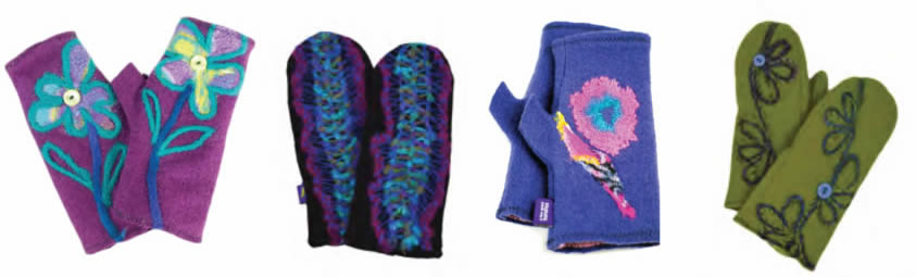 Our mittens and fingerless gloves hold their own!